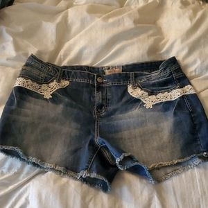 Hot Kiss jeans cut offs with lace
